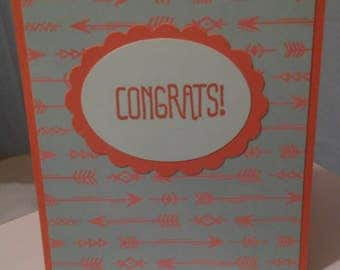 Congrats Turquoise and Coral Greeting Card