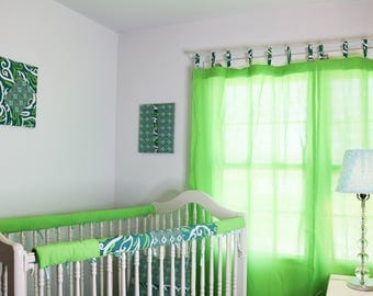 Price Reduction - Ready To Go - Tribal Blues and Greens Coed Crib Bedding Set Bumperless Girl or Boy Crib Bedding