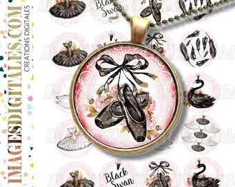 BLACK SWAN ID 1 Digital Collage Sheet Printable Instant Download for art jewelry scrapbooking bottle caps magnets pins