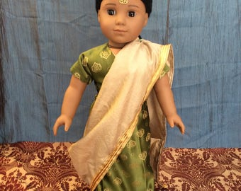 A Sari outfit made to fit an 18 inch doll such as American girl and the like size.