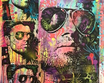 George Michael Pop Art Original Portrait Painting by Deverse Art Colorful Mixed Media on Paper Acrylic, Spray Paint, Collage Street Art