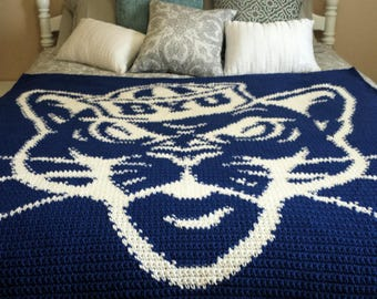 BYU Sailor Cougar Crocheted Throw Blanket