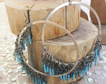 Sweet Boho Chic BIG Beaded Hoop Earrings
