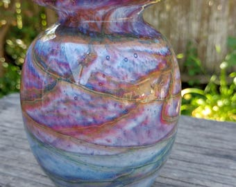 Vintage Art Glass Swirled Vase // Abstract Cased Vase In Purple & Blue Shades