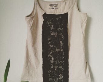 Self-designed tank top with Black Lace in different sizes