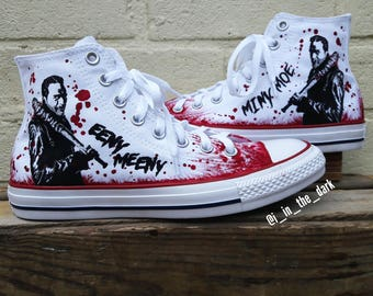 Men's & Women's Negan Inspired Custom Hand Painted Hi Top Converse Shoes