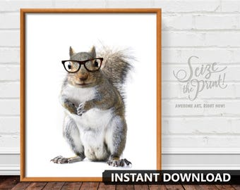 SQUIRREL ART - Squirrel Gift, Squirrel Print, Squirrel Printable, Animal In Glasses, Nursery Art, Office Decor, Dorm Decor, Instant Download
