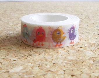 Birds washi tape Colorful birdies kawaii masking adhesive paper for scrapbooking Cute japanese stationery