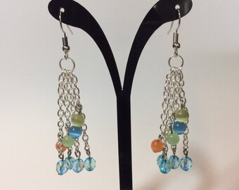 """Earrings """"Turquoise faceted beads and cats eyes chained"""""""