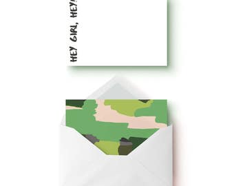 Camo Notecards, Camo Stationary, Camouflage Cards, Note Cards, Flat Notecards, Gifts for Her, Stationary, Flat Card, Thank you cards