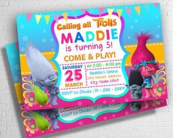 Trolls Birthday, Trolls Invitation, Trolls Birthday Invitation, Trolls Party, Trolls Birthday Party, Trolls Party Invitation