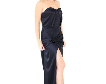 Long silk prom dress - long black dress - dress with open shoulders - drapery dress - made to order - evening gown