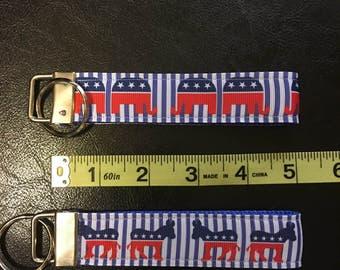 Republican or Democrat Key Fob/Chain Wristlet