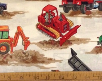 Construction  trucks cotton fabric by the yard