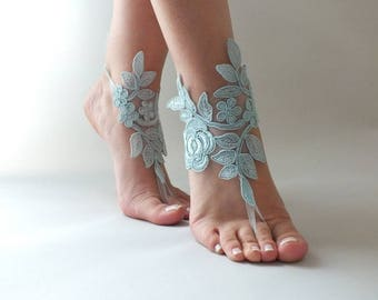 EXPRESS SHIPPING Lace Barefoot Sandals Beach wedding Barefoot Sandals  Lace Barefoot Sandals, Bridal Lace Shoes, Bridesmaid Sandals