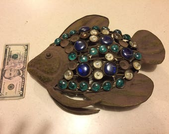 """Metal """"Beta"""" fish with glass stones in blue green and clear"""