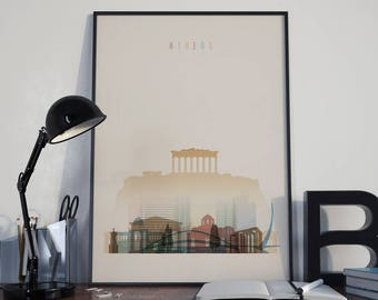 Athens Art Athens Watercolor Athens Multicolor Athens Wall Art Athens Wall Decor Athens Home Decor Athens Skyline Athens Print Athens Poster