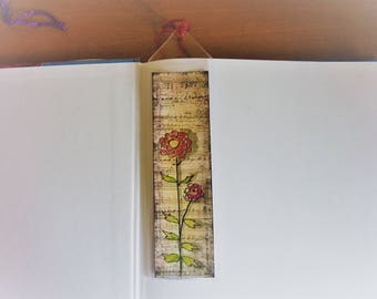 Hand Painted bookmark, mixed media, original painting, protected bookmark, hand made bookmark, gift ideas, ink and watercolor, red flower