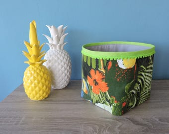 Green tropical fabric storage basket
