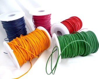 Colored Genuine Leather Cord/ Leather/ Fine Cords of 1/5 (0/5 in) mm pack 5 meters / 16,4 ft