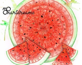 Watermelon Mandala - Signed Fine Art Giclee Print - Art by MoonArtDreams