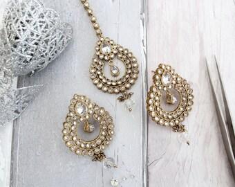 Gold Silver Zircon Stone Indian Bollywood Tikka Headpiece & Earring Set Wedding Bridal set