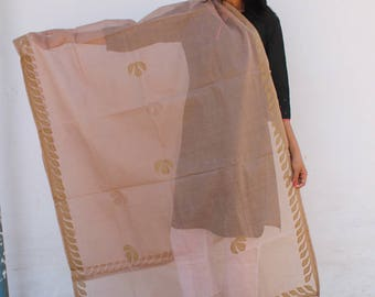Beige  Organdy Half trellis in Applique Dupatta