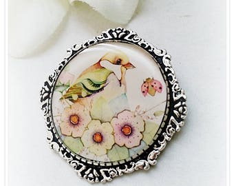 """Brooch """"Watercolor bird"""""""