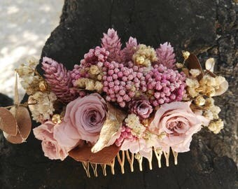 Comb with flowers / pink and nude / played / wedding /recogidos for hair / comb / preserved flowers / flower preserved / wedding / bridal