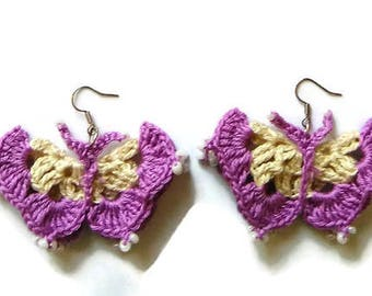 Butterfly earrings,crocheted butterflies earrings,unique earrings