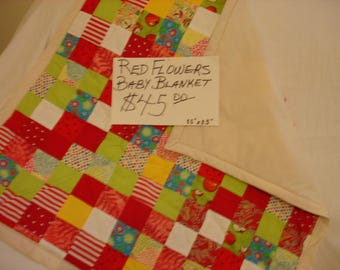 Patchwork/Red Flower Baby Quilt