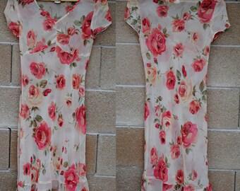 1990's Sheer Floral Dress • Floral Dress • Slip Dress