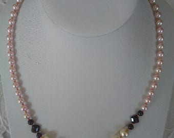 Swavorski Pearls and Garnet beaded necklace