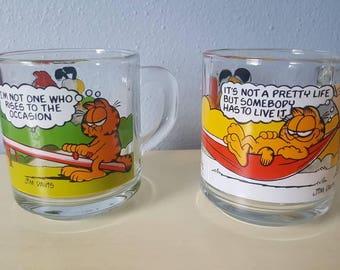 Vintage Garfield glass McDonalds Mugs