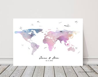 "wedding fingerprint tree guestbook wedding confirmation ""World map"" on canvas"
