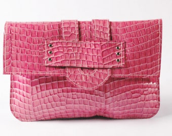 CECILIA/Pink Leather Clutch