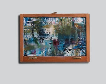 Abstract Acrylic - Original Painting - Contemporary Art - Antique Window Frame
