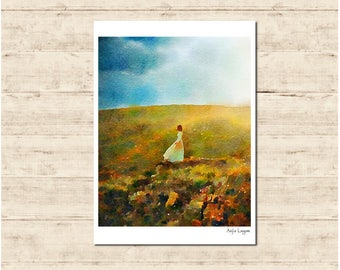 Girl on the Hill Watercolour Painting Postcard Poster Art Print Q94