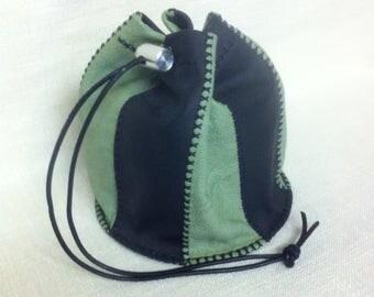 Black and green leather Drawstring handbag
