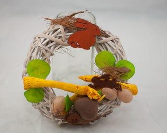 Tischkranz, Tischdeko Ostern, mit orangenem Hasen