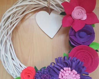 Outdoor wreath with felt flowers. Felt Handmade Door Wall Decoration.