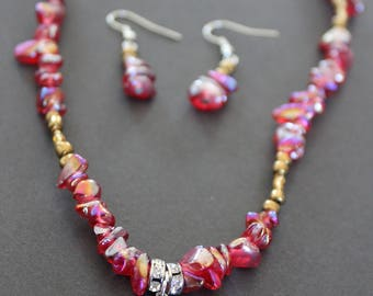 Red and mixed metals necklace and earrings set