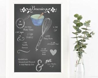 Chalkboard Recipe Art Print-Printable-Brownie Recipe-Kitchen Art-Instant Download