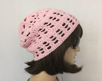 Womens Summer Croshet Hat Womens Summer Slouchy Beanie in Pink Women Spring Hat Summer Fashion