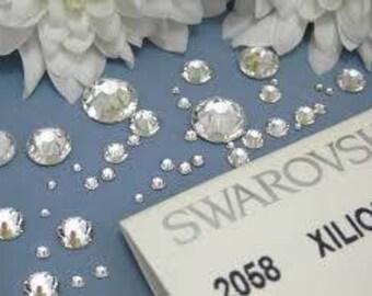 Swarovski crystals flat back stones gems rhinestones non hotfix 50 piece crystal clear ss 1.3mm