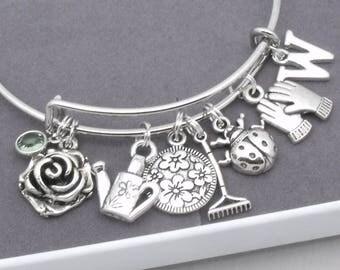 Garden theme charm bracelet | gardening bracelet | garden jewellery | gift for gardener | watering can | ladybird | initial | letter