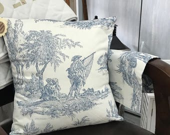 Blue jouy fabric Cushion cover