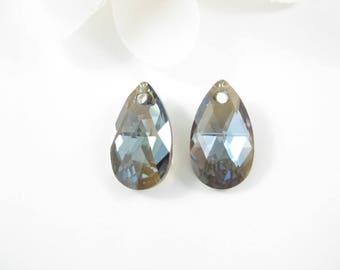 2PC - 16mm Silver Night Swarovski Pendants, Crystal Teardrop Pendant Jewelry Supplies 6106