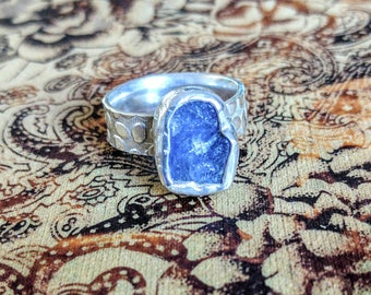 RAW Tanzanite Gemstone Ring, 925 Solid Sterling Silver, Adjustable Size, Genuine, Organic, Rustic, Brand NEW, other December Birthstone