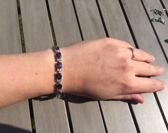 "Dipped Sterling Silver Rainbow & White Topaz Link Tennis Bracelet 7-8"" adjustable"